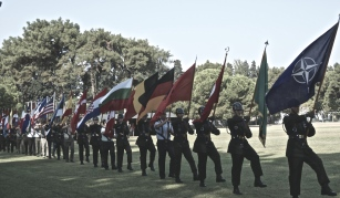Flag Ceremony during LANDCOM International Day.